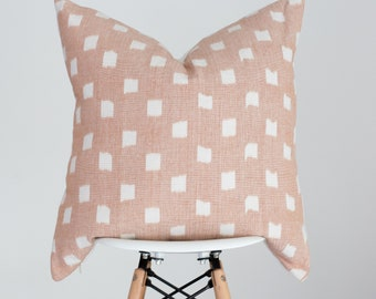 18 x 18 Blush Peachy Pink with White Dot Handwoven Pillow Cover from India, Boho Pillow Cover, Nursery Pillow Cover