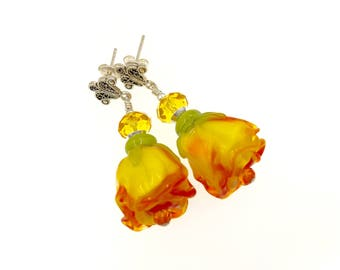 Yellow Rose Lampwork Earrings, Flower Earrings, Gift Idea, Glass Bead Lampwork Jewelry, Artisan Glass Bead Drop Earrings, Beaded Earrings