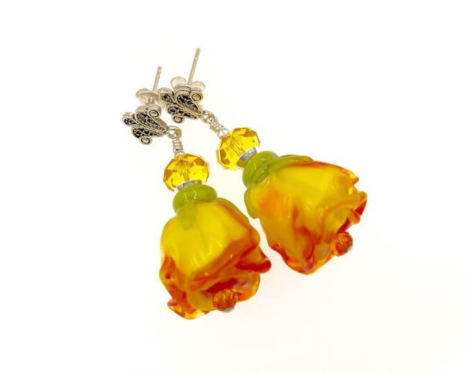 Featured listing image: Yellow Rose Lampwork Earrings, Flower Earrings, Gift Idea, Glass Bead Lampwork Jewelry, Artisan Glass Bead Drop Earrings, Beaded Earrings