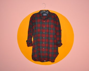 Vintage Men's Wool Pendleton Red Green Flannel Button Down Shirt L