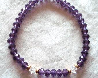 Purple stretch bracelet, crystal bracelet, glitzy jewelry, gold and purple bracelet