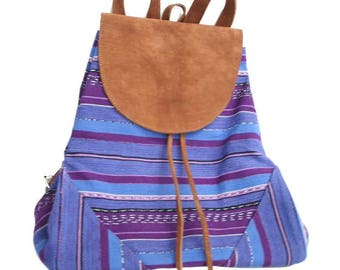 Backpack purple Bohemian chic taupe suede and organic cotton