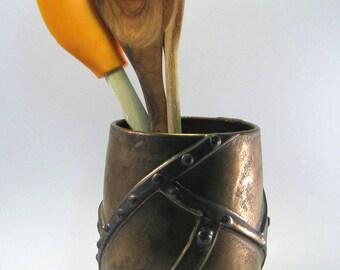 Steampunk Utensil holder, hardware, nuts, bolts, metal