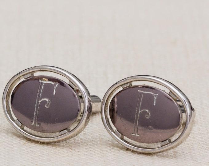 Silver Letter F Cufflinks Vintage Oval Dante Brand Men's Accessories Cuff Link Tuxedo Shirt Add On 7UU