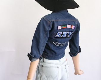 Vintage 90s Jean Jacket Patches / 1990s Denim Fitted Flight Aviator Jacket / Grunge Jumper Cardi / Blue / Tiny Fit / Patched / Extra Small
