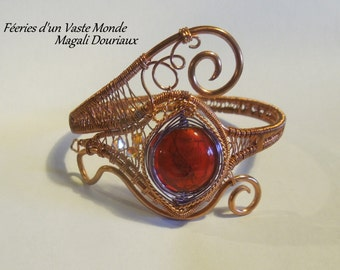 Red glass bead wire wrapping copper Bangle
