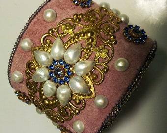 Brass Filigree Cuff Bracelet . Pale Pink / Lilac. Pearl Flower . Blue Swarovski Roundels - Floral Adjustable Cuff by enchantedbeas on Etsy