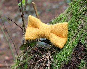 Yellow Harris Tweed Dog Bow Tie, Harris Tweed, Yellow Dog Bow Tie, Slip on Bow Tie, Dog Wedding, Pug Bow Tie, Dog Love Gift, Dog Bow