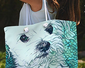 Maltese tote Bag,cute dog tote,Mens overnight Bag,dog Ladies Bag,maltese shopping Bag,Weekender Tote,Beach Bag,Maltese Bag,teal tote bag