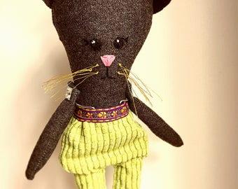Handmade Heirloom Doll - rag doll, Cat cloth doll, fabric handmade doll, nursery decor, birthday gift
