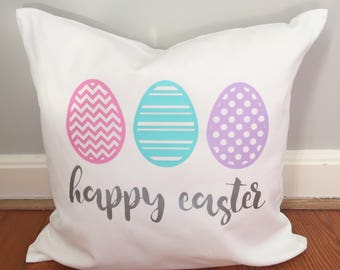 Easter Pillow Cover , Egg pillow , Happy Easter decor  , Bunny , Spring Sham , Easter Eggs , Spring Pillows , 20x20 in pillow