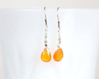 Carnelian Earrings, Carnelian Dangle Earrings, Faceted Carnelian Drops, Carnelian Silver and 14K Gold Filled Earrings