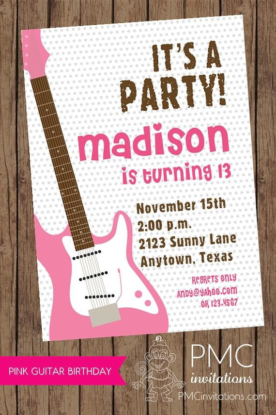 Pink Guitar Music Girl Birthday Party Invitations 100 each