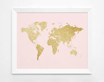 World Map Gold Art Print, Instant Download, Printable Decor, Digital Art Print, 8x10 11x14 World Map, World Map Wall Decor, Gold Glitter Map