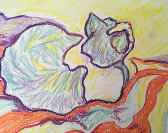 Original oil pastel drawing of a kitty signed by artist Chris Lorenz