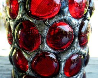 Ruby Red Gothic Mosaic Votive Stained Glass Castle Candle Holder