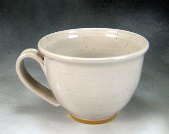 Soup Mug Ceramic Cappuccino Coffee Cup 16 oz Mug in White Hand Thrown Stoneware Pottery