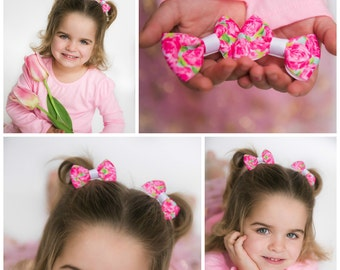 """set of two 3-2.5"""" Lilly Pulitzer preppy summer pigtail hair bows piggies"""