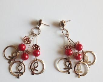 Egyptian ankh symbol earrings