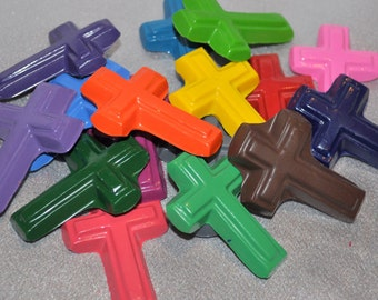 Cross Shaped Recycled Crayons - Total of 16 Crayons.  Baptism Favors, First Communion Gifts Favors, Graduation Gifts Favors.