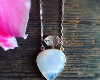 Rainbow Moonstone Black Diamond and Herkimer Diamond Necklace