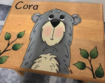 Step Stool, Bear Step Stool, Personalized Step Stool,  Bear Stool, Kids Stool, Grizzly Bear Stool, Grey Bear, Personalized Stool