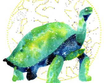 Tortoise Spirit Animal ORIGINAL Painting, Watercolor 9x12