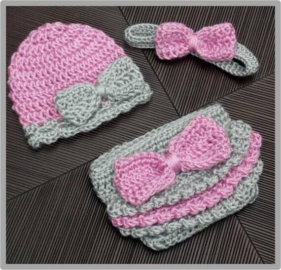 Ruffles Bows Hat Headband And Diaper Cover Set Crochet