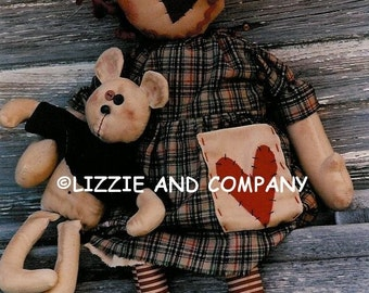 RaGGedY ReD WoBBly HeaD - Annie DoLL and BeaR - PDF ePattern - Primitive and Whimsical