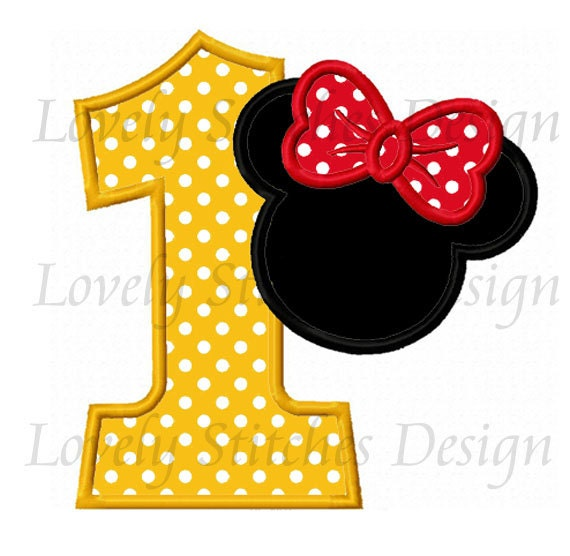 Minnie Mouse Number 1 Applique Machine Embroidery Design