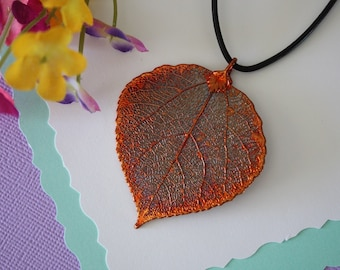 Copper Aspen Leaf Necklace, Aspen Pendant, Copper Aspen, Aspen Necklace, Real Leaf Jewelry, Nature, Leaves, Organic, LL161