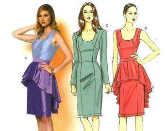 Butterick B5811 Dress with or without Peplum. UnCut