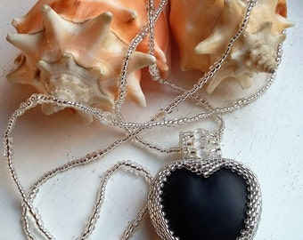 Silver Beaded Matt Black Heart Pendant Necklace