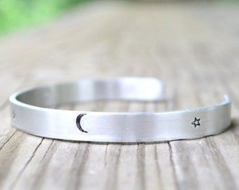 Moon And Stars Cuff Bracelet  - Celestial - Rustic - Modern - Minimalist - Earthy -  Halloween - Fall - Looks LIke Silver  - Aluminum