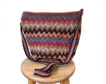 Vintage Colorful Woven bag 1990s ethnic Chevron Bag festival boho hippie Crossbody bag striped 90s zig zag bag