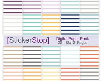 Striped original inkWELL Press Planner inspired colors Digital Paper Set - Instant download PNG files - 12 x 12 paper