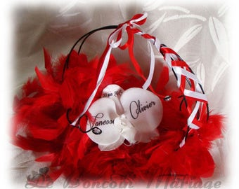 Ring bearer cabaret red and black Orchid artificial customize