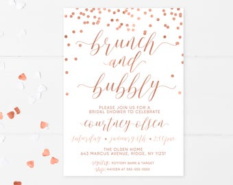 Bridal Shower Invitation, Bridal Shower Invites, Bridal Shower Brunch Invites, Bridal Shower Brunch, Rose Gold Bridal Shower, Rose Gold 672