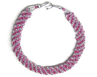 Fuchsia & clear Russian spiral bracelet, fuchsia bracelet, pink bracelet, woven bracelet, beadweaving, seed beads, silver plated clasp