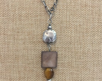 Silpada Tiger Eye Mother of Pearl Necklace. Retired N1336