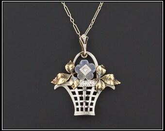 Art Deco Moonstone Flower Necklace | Vintage Moonstone Necklace | Flower Basket Necklace | 14k Gold Necklace | Vintage Necklace