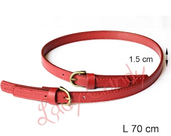 Bag style red 70 Cmbandouliere #330143 leatherette strap leather handle