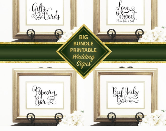 Wedding Signs Package, Welcome, Gift & Card, Guest Book, Love is Sweet, Popcorn Bar, Photo Booth, Late Night Snacks, Beef Jerky Bar, DIY