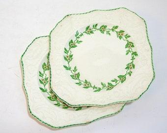 Adams Antiques by Stuebenville, Orange Blossom, Vintage Square Floral Plates, Cottage Style Decor
