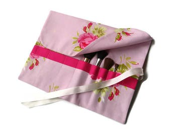 Makeup Brush Roll Pink Roses Floral Cosmetic Organizer Travel