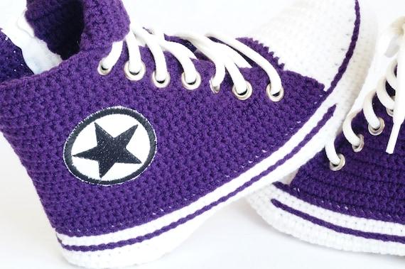 Converse Slipper Booties Purple Crochet Men's House Gift For PCHTCS Women Crochet Slipper Converse Crochet Knitting Converse Slippers Uwd1nnxvO