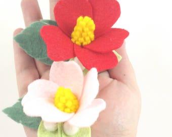 Hibiscus Hair Clip - Felt Flower Headband - Hawaiian Headband - Hawaiian Hair Clip - Felt Hibiscus