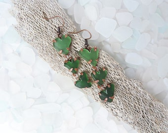 Copper and Sea Glass Earrings - Hearts earrings - Pendant earrings