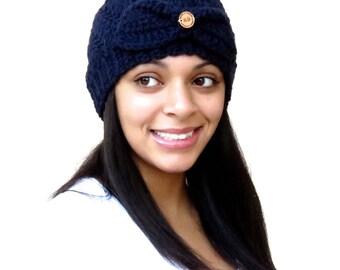 Crochet Beanie Hat,  Crochet Cap, Navy Blue Hat, Crochet Spiral Hat, Color is Navy Blue,