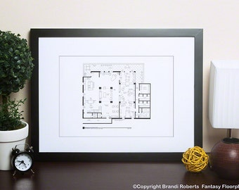 Richard Castle Apartment Poster - Famous TV Show Floor Plan - Home of Rick Castle & Kate Beckett - Gift for Architects